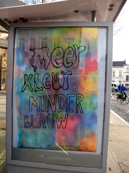 Subvertisers take over street advertisements in the city (Ghent, Belgium)