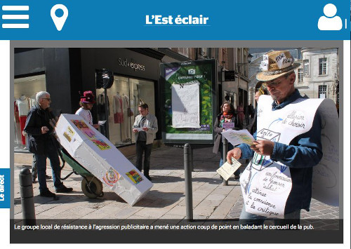 Troyes and Besançon, France: festive funeral for outdoor advertising