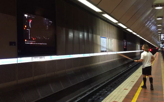 Melbourne, Australia: Video screens extinguished